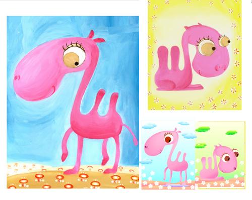 ピンクのラクダのベクター素材