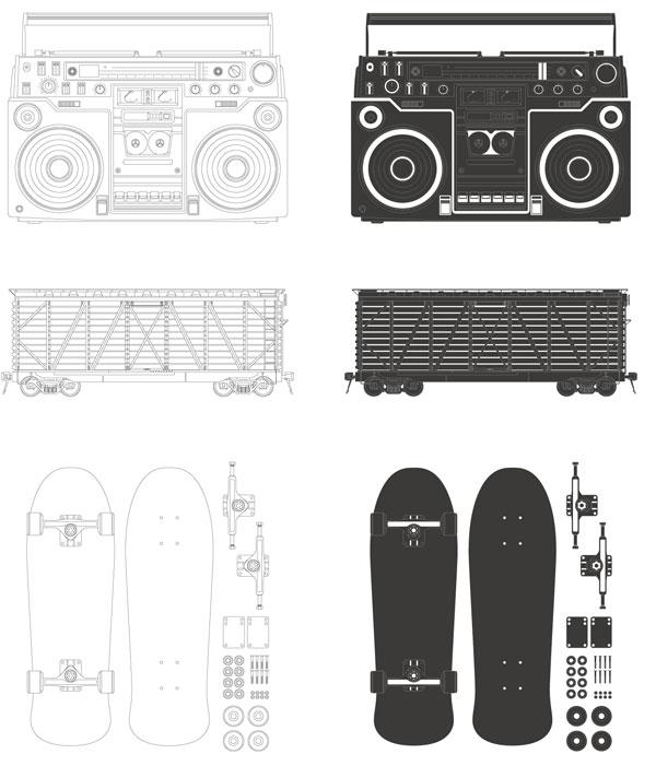 Material de vetor do rádio - contêiner - skate