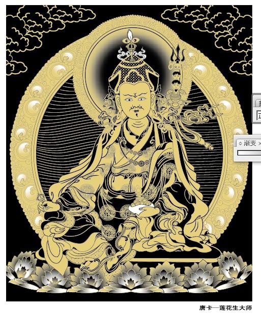 ผู้นำศาสนาฮินดู Padmasambhava Thangka เวกเตอร์