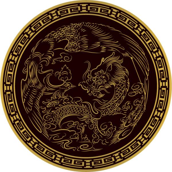 Material circular clásica Dragon Vector