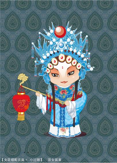 โอเปร่า Peking อักขระ (odalisque รูป) vector วัสดุ