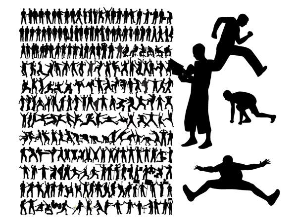 Una variedad de material de vectores de silueta de figuras de acción