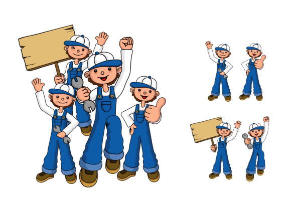 修理担当者の数字のベクター素材