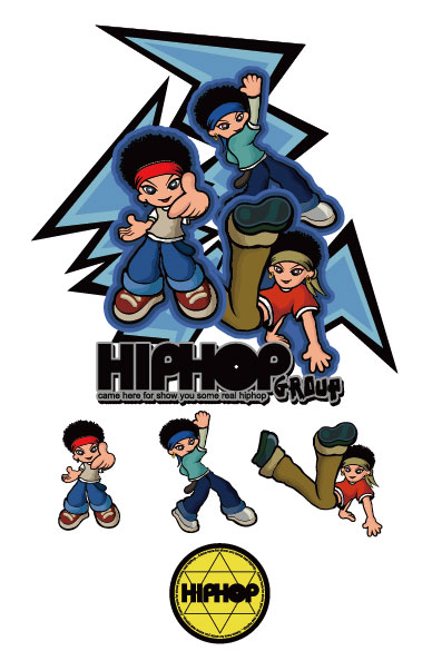 Хип-хоп мультфильм характер векторного материала