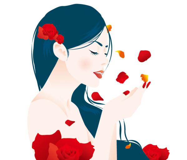 素材のバラの花びらの女の子をベクトルします。