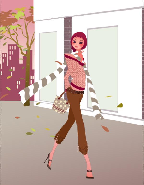 秋ファッション美容室お好みのベクター素材