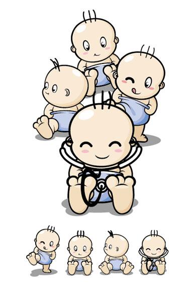 Material de vectores de personaje de dibujos animados bebé