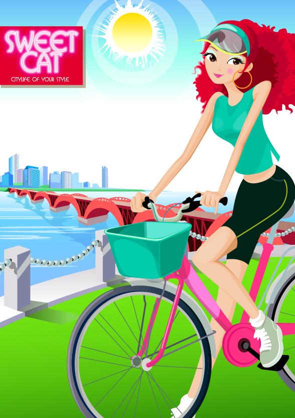 แฟชั่นสาวเวกเตอร์วัสดุจักรยาน