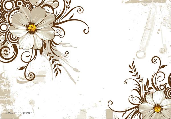 野生の菊とファッション パターン ベクトル材料
