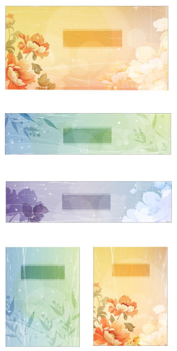 Цветок стиль ретро вектор справочных материалов-2