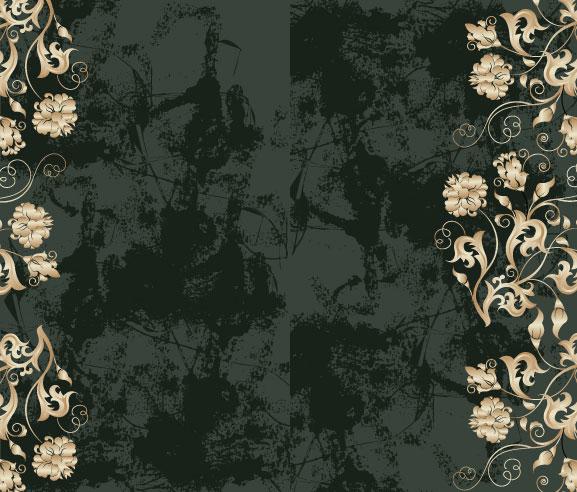 Fondo de patrones ornamentados y sucio vector de material