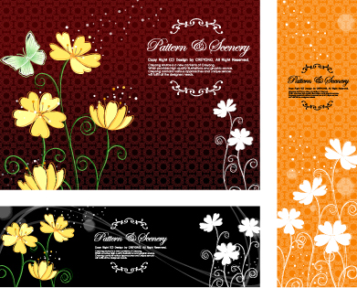 Trama de fondo mariposa flores vectoriales de material clásico