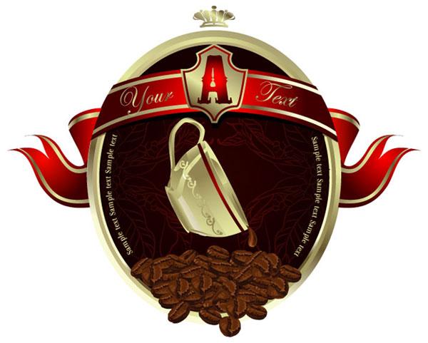 Granos de café, taza de café diseño vectorial