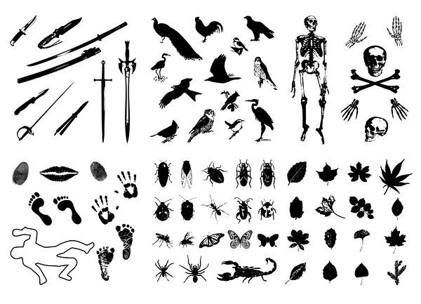 Épées, des oiseaux, des squelettes, des insectes, feuilles vecteur