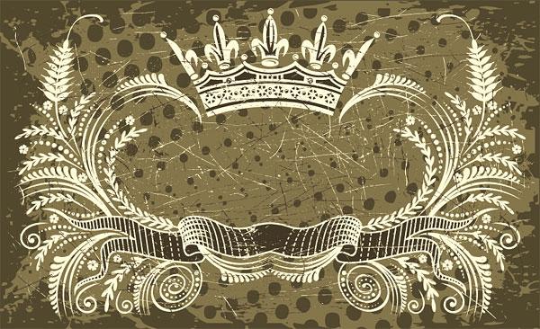 Corona, banner, vector de la rama de olivo