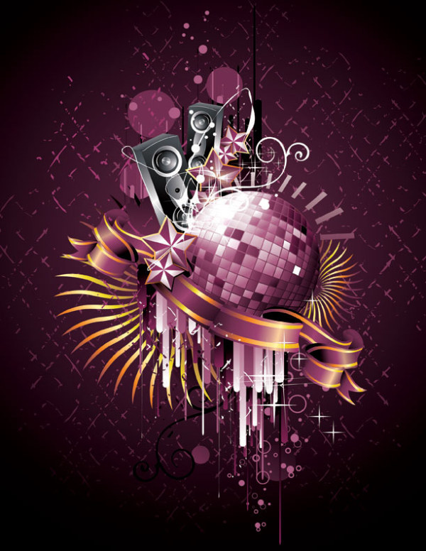 Disco, dance crystal ball Vector