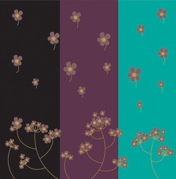 三色の花の背景素材をベクトルします。