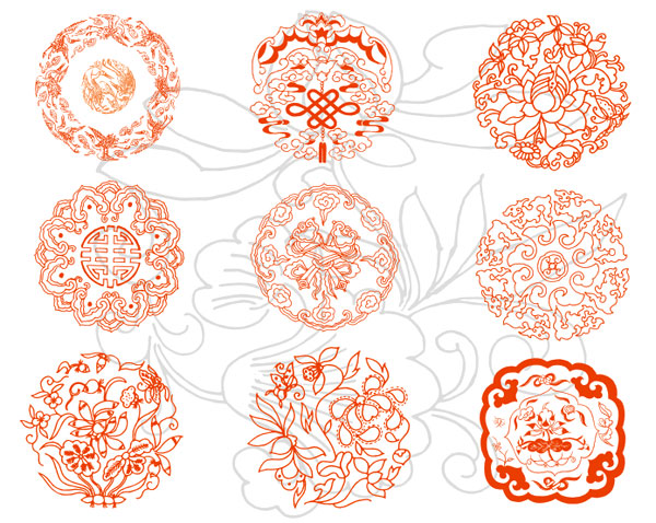 Krane, Wolken, Chinesisch Knot, lotus