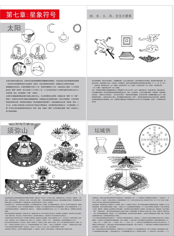 El sol y la Luna, el agua, fuego, viento, aire símbolos budistas