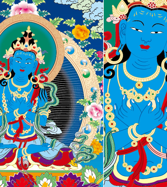 Vector de murales de Dunhuang de religión