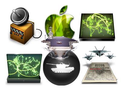 Mapas, mac, satélites, portaaviones, aviones de combate, tanques