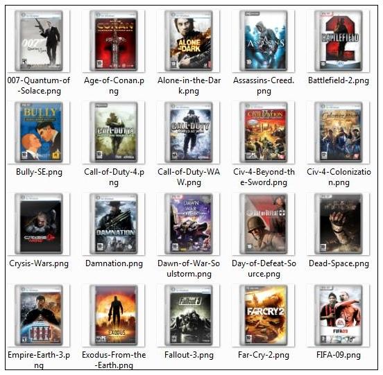 Компьютерные игры и фильмы покрывают png иконки -1