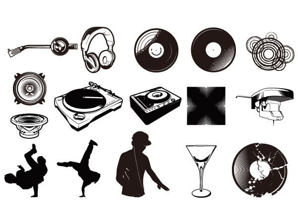 Игры игроки диска, виниловых дисков, наушники, напитки, бокалы вектор