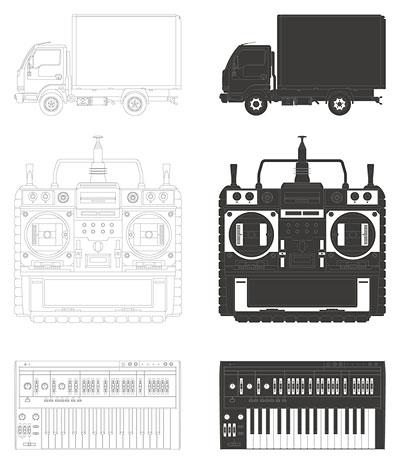 Camiones, grabadoras de vídeo, órgano vector material