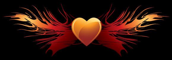 หัวใจที่มีรูปปีกเวกเตอร์
