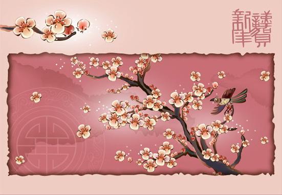 Blossom pies, prune, le vecteur de la branche