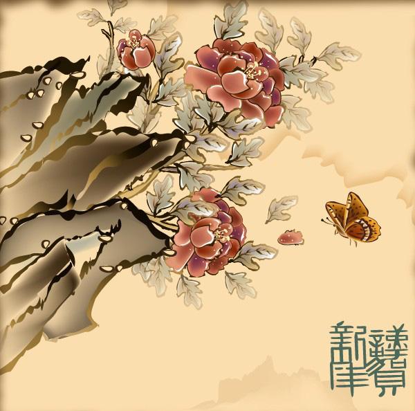 蝶、縁起の良い新年の花の画像