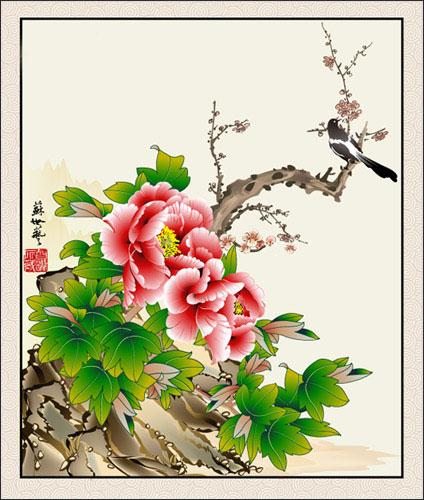 Peony ดอกไม้วาดภาพเวกเตอร์ magpie