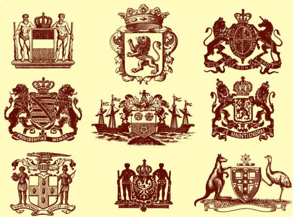Löwe, Krone, Känguruh, Statuen, Strauß