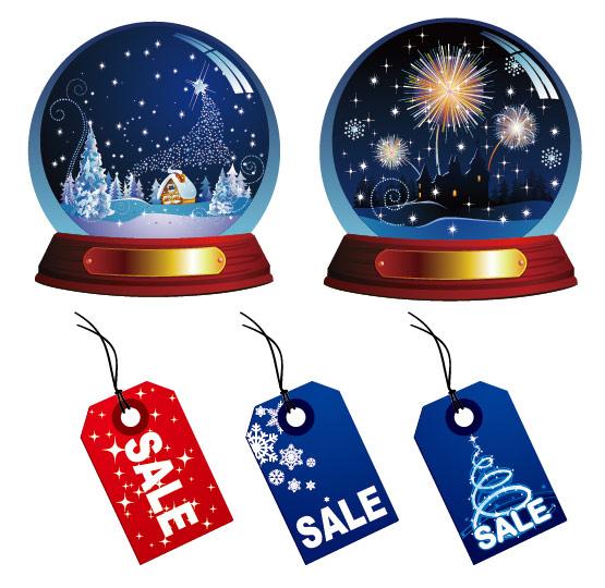 bola de cristal e venda de vetor de rótulo
