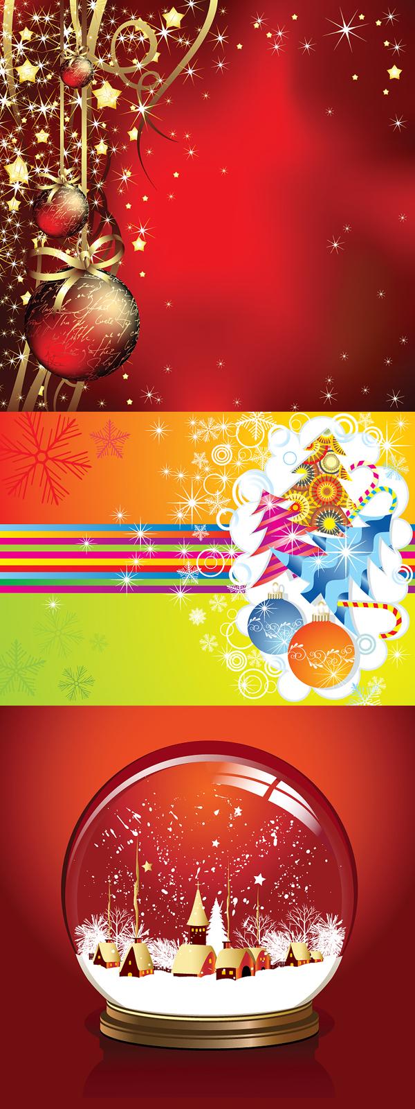 Nieve, bolas decorativas, estrellas, bola de cristal, bola de cristal de vectores