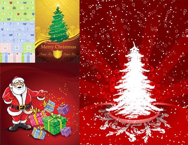 บัตรอวยพร การบรรจุกล่อง ของขวัญคริสต์มาส shields เวกเตอร์