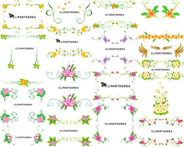 เวกเตอร์ดอกไม้และลวดลายน้ำย้อยเฌอร่า