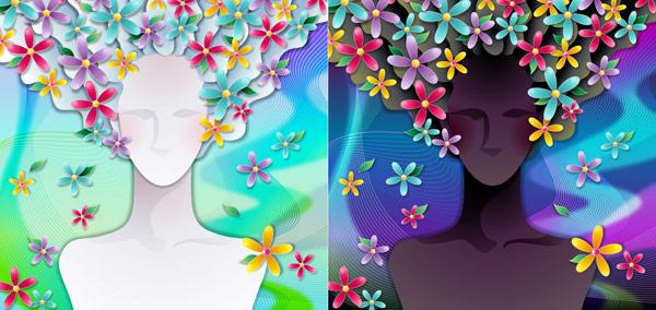 Mujer con flores -3 material de vectores