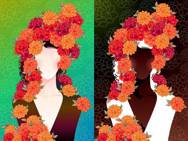 Mujer con flores -2 material de vectores