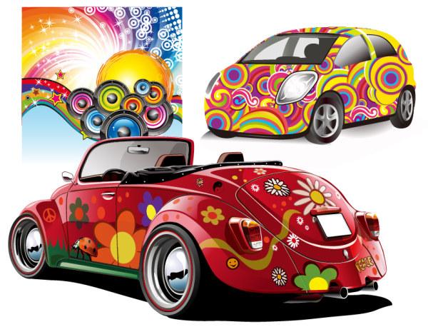 Vector de partido y coches discoteca