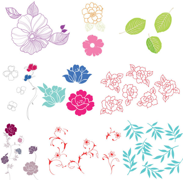 กรณีธรรมดาของดอกไม้ ใบไม้เวกเตอร์