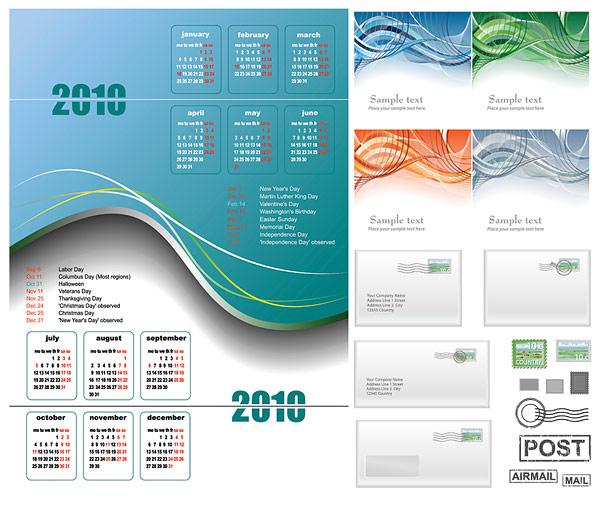 2010 캘린더, 라인과 전자 메일 벡터 자료