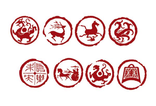 Dragon, tigre, veado de aves, Yan, cavalo