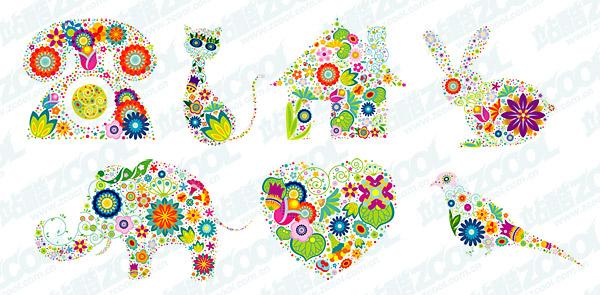 Patrón de flores compuesta por vector
