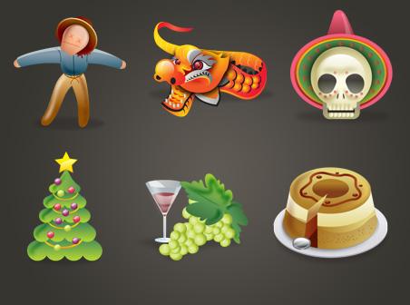 休日のアイコン - かかし、ワイン、クリスマス ツリー、龍、ケーキ