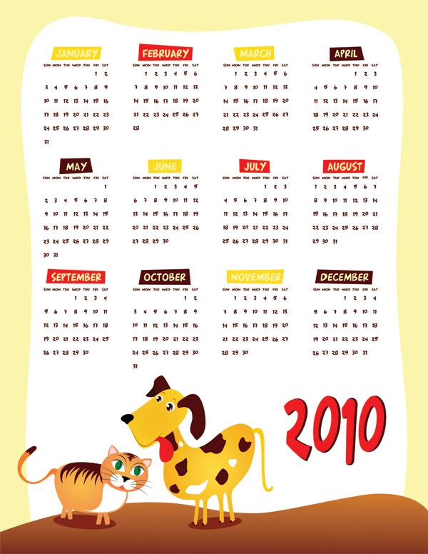 ベクトル 2010 年カレンダー