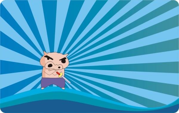 豚漫画ベクトルの背景素材