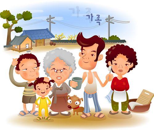 จิตรกรภาพประกอบการ์ตูนครอบครัว iClickart vector วัสดุ -1