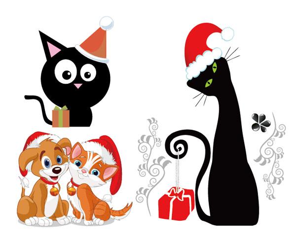 Perros y gatos Navidad vectoriales