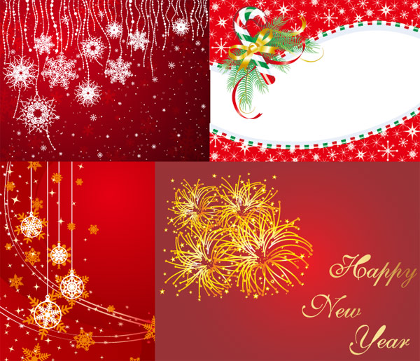 Muletas, cintas, arcos, fuegos artificiales, feliz año nuevo